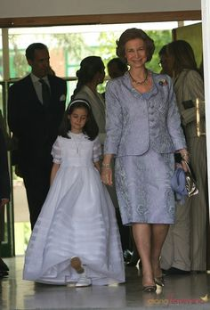 Victoria Federica with her grandmother, Queen Sofia, at church for her First Communion.