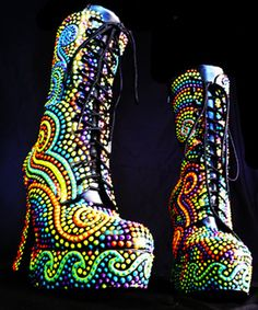 I would wear these!!  Painted Boots size 8 ON SALE 20 OFF Reg 37500 by biohazardousjerk, $300.00