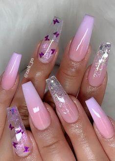 Clear Nail Designs, Cute Acrylic Nail Designs, Nail Art Designs, Nails Design, Pretty Nail Designs, Butterfly Nail Designs, Popular Nail Designs, Butterfly Nail Art, Long Nail Designs
