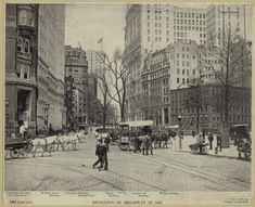 """""""Beginning of Broadway in 1899"""" - larger cities had paved streets and sidewalks, public transport, and high-rise buildings"""