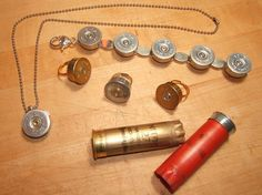 Jewelry with a bang! Shotgun shells made into a necklace, bracelet and rings . Free tutorial with pictures on how to recycle a bullet bracelet in under 20 minutes by jewelrymaking with bullet and jewellery settings. How To posted by PlaidCrafter. Shotgun Shell Crafts, Shotgun Shell Jewelry, Ammo Jewelry, Bullet Jewelry, Jewelry Sets, Jewelry Crafts, Handmade Jewelry, Jewelry Making, Shotgun Shells