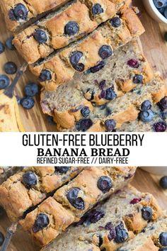 Gluten-Free Blueberry Banana Bread - Gluten-Free Blueberry Banana Bread is a moist, delicious inviting quick bread that is sweetened primarily with bananas. Refined sugar-free! #glutenfree #dairyfree #sugarfree #bananabread #breakfast #healthyrecipe Blueberry Banana Bread, Gluten Free Blueberry, Gluten Free Banana Bread, Banana Bread Recipes, Paleo Bread, Best Gluten Free Desserts, Gluten Free Cakes, Healthy Dessert Recipes, Healthy Desserts