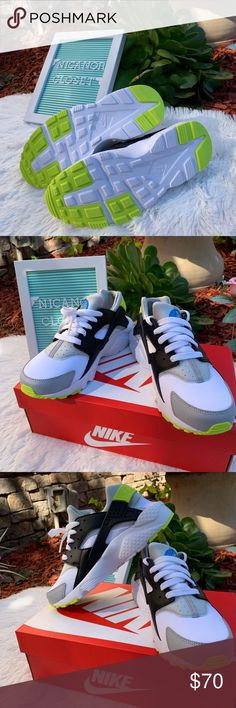 b483075ef297 NIKE HUARACHE RUN (GS) New never used. With box. 6.5 Youth size. Women s  size 8 Color  White  Cyber- Photo blue Feel very comfortable I d love to  accept ...