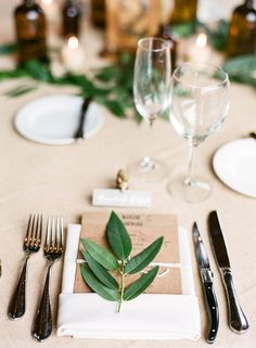 kraft + leaves for an organic place setting