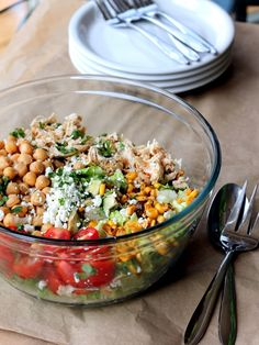 Easy Healthy Chicken Recipes - Healthy Chicken Chickpea Chopped Salad - Lunch and Dinner Ideas, Party Foods and Casseroles, Idea for the Grill and Salads- Chicken Breast, Baked, Roastedf and Grilled Chicken High Fibre Lunches, High Fiber Foods, High Fiber Recipes, Healthy Chicken Recipes, Lunch Recipes, Cooking Recipes, Easy Recipes, Recipe Chicken, Soup Recipes