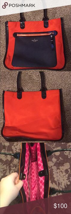 kate spade medium/large vinyl tote Beautiful red orange that is truly unique! Fits a regular binder. Outside and inside zip pockets, magnetic flap closure at top. kate spade Bags Totes
