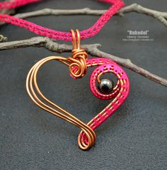 Wire wrap necklace Heart от vorobev на Etsy