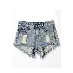 LUCLUC Blue Ripped Rivet Denim Shorts ($28) ❤ liked on Polyvore featuring shorts, lucluc, denim shorts, short, jean shorts, distressed shorts, ripped denim shorts, short shorts and short jean shorts