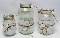 exklusives Tischdeko-Set für die Festtafel  3 Vasen / Windlichter im Vintage Stil mit Spitze und Schlüssel  - ideal als Tischdeko für Hochzeiten, Taufe, Kommunion, Konfirmation,...