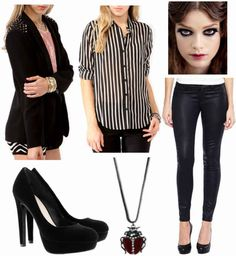 Black pants, striped shirt, black jacket, black heels, dark red necklace, red lip, dark eye makeup