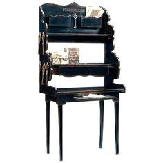 L'excentrique Blakc French Desk (49 480 UAH) ❤ liked on Polyvore featuring home, furniture, desks, desk, shelves furniture, french desk, key furniture, open back shelves and script furniture