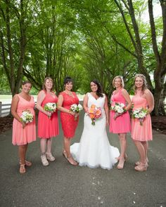 Coral and peach colored wedding at Maplehurst Farm, flowers by Country Bouquets Floral