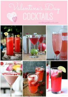 A collection of Valentine's Day Cocktails that are perfect for any Valentine's Day celebration   cookingwithcurls.com