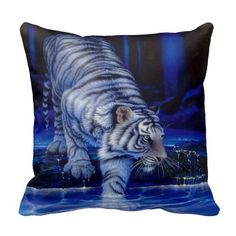 A blue pillow with a white tiger on it. This pillow looks stunning and will be loved by people that like tigers. So tiger fans check this pillow out! Purple Love, All Things Purple, Shades Of Purple, Deep Purple, Purple Stuff, Purple Art, Purple Hues, Lilac, Big Cats Art