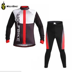 54.60$  Watch here - http://aliz41.worldwells.pw/go.php?t=32357466517 - Winter Fleece Thermal Long Sleeve 3D Padded Clothing Bicycle Bike Cycling Tights Jersey Set