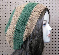 #Almond #Tree #slouchy #beanie, #Hippie #Dread #Tam, slouch beanie #hat #handmade, #brown #green #stripes, woman or man #beret #tam hat, winter hat