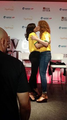Awesome Lana and Bex kissing goodbye at the end of their or Lana's panel at the EverAfterCon in Rio de Janeiro Brazil Sunday 6-28-15
