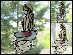 Stained Glass Mermaid Freeform Panel