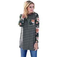 Women Stripe Fashion Round Collar Rose Print Cotton Long Sleeve Casual Long Tops Blusas Femininas