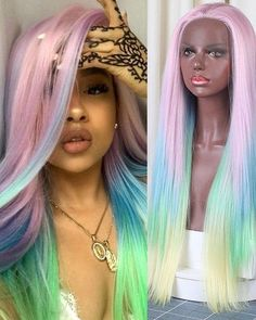 AIVA Synthetic Lace Front Wig With Natural Hairline Ombre Wig Glueless Heat Resistant Hair Middle Part Cosplay Wigs For Women Black Kids Hairstyles, Wig Hairstyles, Hairdos, Hairstyle Ideas, Colorful Lace Front Wigs, Rainbow Wig, Creative Hair Color, Birthday Hair, Ombre Wigs