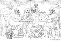 Nella tenda di Achille (Hom.Il.9.225). Bonaventura Genelli (1798 – 1868)