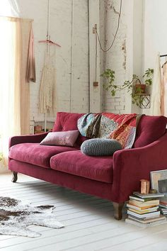 Deep rose velvet. Throw. But sofa style too slouchy for my back.