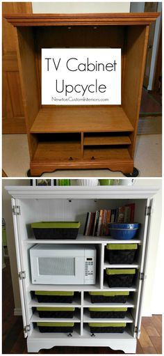 Upcycle an old TV cabinet and turn it into a storage cabinet! A great way to add organization and storage to a kitchen! Tv Furniture, Repurposed Furniture, Furniture Projects, Furniture Makeover, Home Projects, Furniture Stores, Rustic Furniture, Armoire Makeover, Furniture Buyers