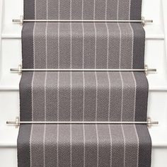 Roger Oates Dart Pigeon stair runner carpet with Brushed Chrome stair rods to white painted staircase Hall Carpet, Rugs On Carpet, Stair Carpet, Carpets, Carpet Decor, Hallway Carpet Runners, Stair Runners, Staircase Runner, Stair Banister