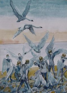 """Inspiration for Seven Swans """"The Wild Swans"""" by Hans Christian Andersen illustrated by the Danish artist Svend Otto S Art And Illustration, Fairy Tale Illustrations, Botanical Illustration, Fantasy Kunst, Fantasy Art, Seven Swans, Andersen's Fairy Tales, Hans Christian, Fairytale Art"""