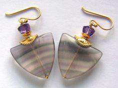 Fluorite Amethyst earrings Gold Vermeil Trillion by pinkowljewelry