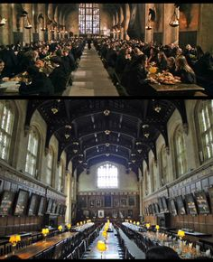 The Hogwarts Great Hall set design seen in all Harry Potter Movies was based on Christ Church College's Dining Hall in Oxford, England--Site #31 in Harry Potter Places Book Two.  http://www.harrypotterplaces.com/owls-oxford-wizarding-locations/  http://www.chch.ox.ac.uk/  #HarryPotter #Potterheads #Hogwarts