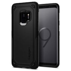 Samsung Galaxy Case, Spigen® [Hybrid Armor] Galaxy Case with Air Cushion Technology and Secure Grip Drop Protection for Samsung Galaxy - Graphite Gray - Phone Covers, Samsung Galaxy S9, Design, Unic, Graphite, Products, Cushion, Amazon, Black