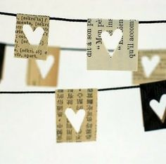book page garland w/punched out hearts