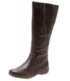 PADDERS HONEY DARK BROWN LEATHER FLAT MOULDED UNIT ROUND TOE KNEE LENGTH PANELLED ZIPPERED BOOT WITH ELASTIC TRIM    How sweet it is! The cushioning innersole means leaving tired tootsies behind. Add both comfort and style to pants or skirts!     • Heel height: flat   • Boot height: 37 cm  • Circumference: 39 cm   • Orthotic friendly  • Leather upper and lining  • Synthetic sole