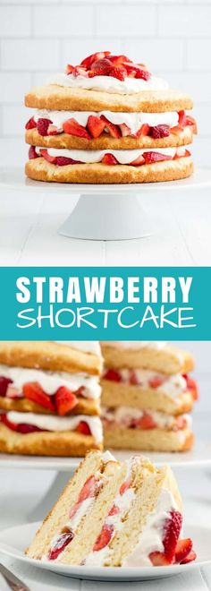 Strawberry Shortcake is a classic dessert that is perfect for spring and summer. This three layer strawberry dessert is not only beautiful, it's also delicious! Strawberry Shortcake Recipes, Strawberry Desserts, Summer Desserts, Easy Desserts, Delicious Desserts, Dessert Recipes, Summer Cakes, Strawberry Delight, Chocolate Strawberries
