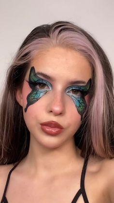 Cool Makeup Looks, Creative Makeup Looks, Crazy Makeup, Pretty Makeup, Face Paint Makeup, Eye Makeup Art, Makeup Eyes, Unique Makeup, Natural Makeup