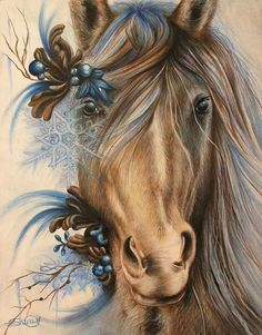 www.facebook.com/... By: Sheena Pike ~ ART ~ coloured pencil, PanPastels Art. Horse, Blue horse, snowflake, Horse ART, Winter horse, dream horse, foliage, ice, branch, Warrior, #society6, #fineartamerica #sheenapikeart, popsurrealism, illustration - This piece can be purchased on my website...please visit! sheena-pike.artis... and thank you for the Pin...I appreciate the exposure. (copyright of SheenaPikeArt )