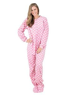 Footed Pajamas - Pretty In Polka Adult Fleece Drop Seat Pajamas 22e828c07