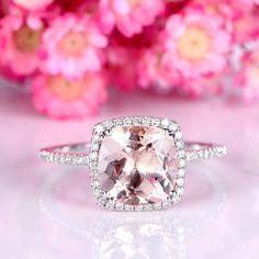 Morganite engagement ring 9mm big cushion cut natural VS morganite 3ct stone 14k white gold diamond wedding band promise bridal ring by yvelove on Etsy #cushioncutring