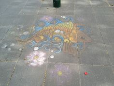 Pavement chalk art Crown Promenade, Southbank