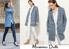 Queen Letizia wore Massimo Dutti Wool-Cashmere Printed Coat www.newmyroyals.com