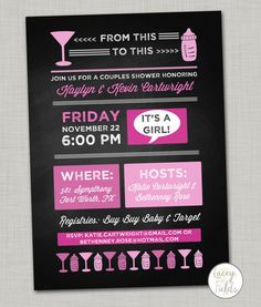 Couples baby shower invitation digital- cocktail shower invite- coed baby shower- girl baby shower invitation- chalkboard baby shower invite...