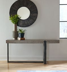 Mercury Concrete + Iron Console Table #HGTV (https://www.zinhome.com/mercury-concrete-iron-console-table/)