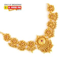 Indian Jewellery and Clothing: Beautiful short floral design 22 carat gold necklace from A.Geeri pai Jewellers