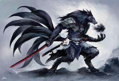 Nine Tailed Black Wolf