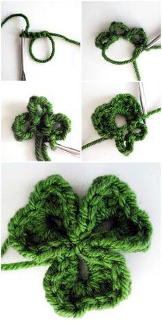 Crochet Flower Patterns Crochet Clover Pots: free crochet shamrock pattern for St. Crochet Puff Flower, Crochet Leaves, Crochet Flower Patterns, Crochet Motif, Crochet Crafts, Crochet Yarn, Crochet Flowers, Crochet Hooks, Crochet Projects