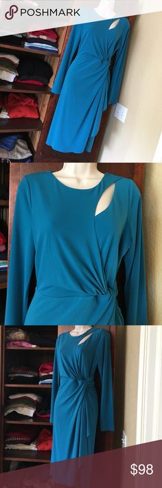 Goddess dress from Catherine Malandrino Smashing teal color that is difficult to capture. Cutout at neck and knot at waist make this unbelievably flattering. Fully lined, back zip, hugs curves. 95%poly 5%spandex. Hits below the knee. Worn once to a charity event. Dry clean or hand wash. Purchased at Neiman Marcus. Has a small rub mark on right side shown in last pic. Catherine Malandrino Dresses Asymmetrical