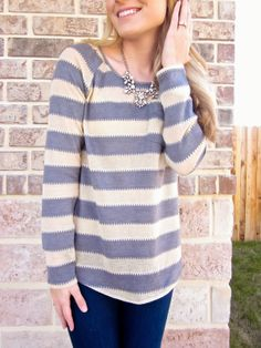 Cream and grey tee with statement necklace