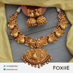 Beautiful Gold Plated Dancing Peacock Choker Necklace Set, Indian Temple Necklace by @foxiietrends . . ⭕LIMITED STOCK⭕ We accept bulk order also . . #goldplatedjewelry #indianjewelry #jewelry #fashion #templejewellery #diwali #diwalisale #sale #jewellerydiscount #templenecklace #Foxiie #FoxiieTrends South Indian Bridal Jewellery, Indian Jewellery Online, Indian Jewelry, Saree Jewellery, Temple Jewellery, Necklace Set, Gold Necklace, Necklace Designs, Jewellery Showroom