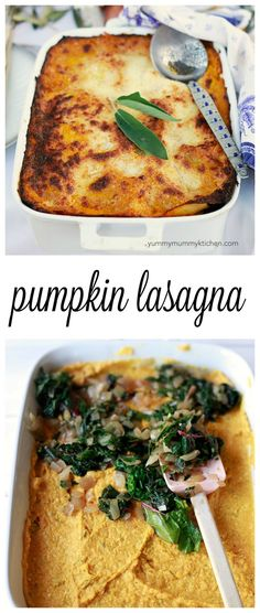 The best pumpkin lasagna layered with greens. We love this recipe for a vegetarian Thanksgiving main dish or any fall dinner.